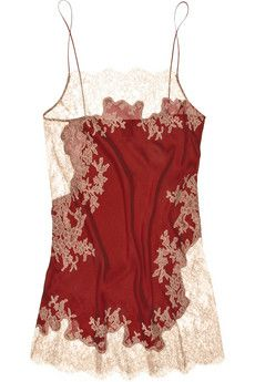 Crimson silk-satin chemise with blush floral Chantilly lace embellishment. Carine Gilson chemise has spaghetti straps, sheer lace panels, a scalloped hem and simply slips on. Lingerie Xxl, Lingerie Chic, Lingerie Babydoll, Lingerie Fine, Gorgeous Lingerie, Lingerie Sleepwear, Lingerie Slips, Corsets, Underwear