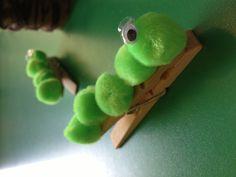 Spring craft. Caterpillar pegs.
