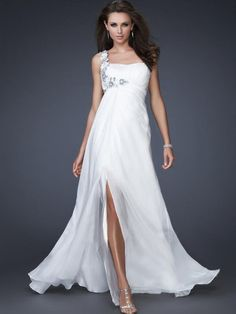 One Shoulder Chiffon A-line Floor-length Prom Dress at dressestylish.com