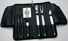 6 Piece Premium BBQ Grilling Tool Utensil Set Outdoor Cooking Stainless Steel Silver  Black *** Read more reviews of the product by visiting the link on the image.Note:It is affiliate link to Amazon.