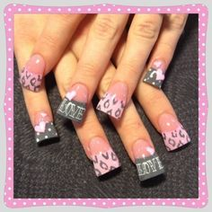 Pink and grey valentine - Nail Art Gallery love the design hate the nails. Get Nails, Fancy Nails, Sparkle Nails, Gorgeous Nails, Pretty Nails, Fabulous Nails, Pretty Makeup, Acrylic Nail Designs, Acrylic Nails