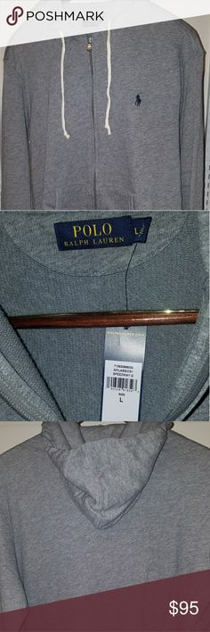 Ralph Lauren Polo Speedway Hoodie NWT Brand new Large Hoodie with tags 50% cotton 43% poly 7% modal 24' chest 27' length 36' arm sleeve from middle of neck-shoulder-elbow-arm Grey Hoodie with Navy Blue Horse logo NWT Polo by Ralph Lauren Jackets & Coats