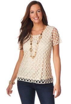Crochet Lace Shirt - Christopher & Banks