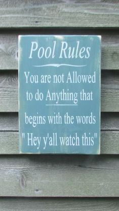 """This hand painted, primitive rustic, funny pool rules sign, is distressed to give a primitive look to your outdoor décor.Sign measures 11 1/4"""" X 16"""" It comes ready to hang with a hanger on the backit is coated with a sealer for protection . *************** SHIPPING **************** $9.95"""