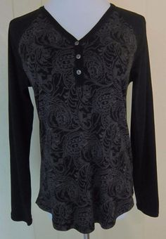 Chaps Women's L Black & Gray Cotton Knit Paisley Long Sleeve Pullover Top #Chaps #Pullover