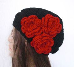 Hand Knit Hat Red fashion   Victorian  Hat black with  by Ebruk, $35.00