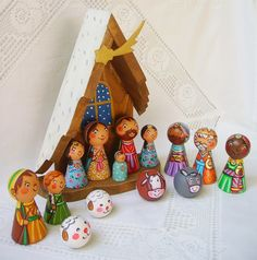 Nativity set Holy Family stable cradle heart Jesus Christ Virgin Mary Saint Joseph Three Kings Wise Men angel shepherd star