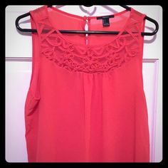 2X HP Orange tank blouse Bright orange tank blouse with braided detailing. It's mostly sheer and flowy. Worn only once and in great condition. Size large. 2x Best in Tops Host Pick!  Forever 21 Tops Tank Tops