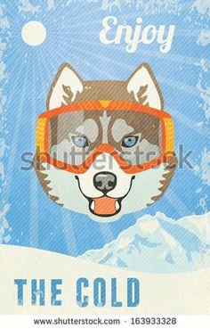 Winter Poster with Husky. Vector illustration, eps10. [Siberian Husky 🐾🐾]