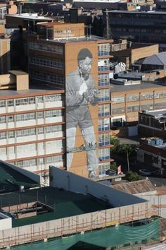 Mandela Tribute in Maboneng, South Africa Johannesburg City, New South, Black Artists, Nelson Mandela, Built Environment, Urban Planning, Public Art, Aerial View, African Art