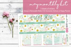 May Monthly View Sticker Kit 120  Planner by giraffeonskates