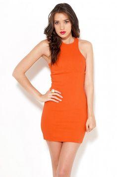 Sleeveless Zip Back Tennis Dress in Tangerine