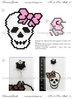 TUTORIAL  Mr. & Mrs. Skull - Ricamar Gioielli Beading Patterns Free, Seed Bead Patterns, Beaded Jewelry Patterns, Beading Projects, Beading Tutorials, Halloween Beads, Beaded Banners, Beaded Skull, Beaded Animals