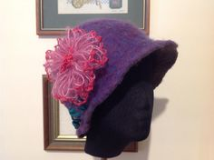 Wet felted hat Australian wool. Decorated with Bev's flower