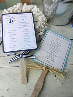 Exchange timeless and romantic vows before an ocean backdrop? Get these unique summer beach wedding Ideas to make your wedding day a perfect bash! Beach Wedding Programs, Wedding Program Fans, Beach Wedding Reception, Wedding Fans, Nautical Wedding, Trendy Wedding, Unique Weddings, Diy Wedding, Destination Wedding