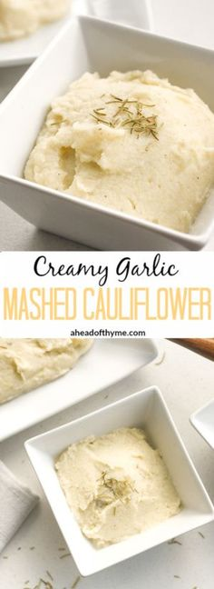 Creamy Garlic Mashed Cauliflower: Imagine having a nice big serving of mashed potatoes but with a quarter of the calories. Now you can with creamy garlic mashed cauliflower! | aheadofthyme.com