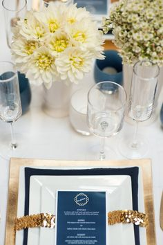 Love the gold band and menu cards- maybe instead of sequins a beautiful gold ribbon. simple and elegant