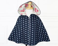 Girls sewing pattern pdf Costume pattern Jacket Childrens by MyChildhoodTreasures Kids Cape Pattern, Hooded Cape Pattern, Jacket Pattern, Childrens Sewing Patterns, Clothing Patterns, Clothing Ideas, Sewing Ideas, Sewing Projects, Stylish Kids Fashion