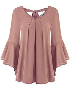 Finice Chiffon Blouses for Women, Ladies Tops Cute V Neck Pleated Front Blouse Elegant Bell Sleeve Swing Hem Solid Colored Tunic Shirt Spring Fall Fashion Clothes Dark Pink M Fall Fashion Outfits, Hijab Fashion, Fashion Dresses, Fashion Clothes, Blouse Styles, Blouse Designs, Hijab Styles, Beautiful Blouses, Chiffon Tops