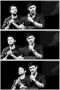 I love you too. JIBcon 2013 haha gotta love the faces Misha is making in the background