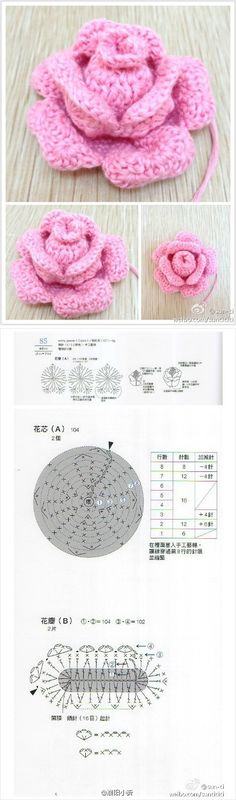 Crochet Flowers / crochet rose na Stylowi. Crochet Chart, Knit Or Crochet, Crochet Motif, Irish Crochet, Crochet Stitches, Crochet Diagram, Knitted Flowers, Crochet Flower Patterns, Knitting Patterns