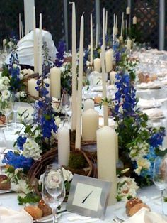 #Delephinium and #Hydrangea centerpiece with lots of candles