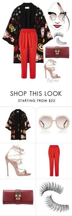 """Untitled #745"" by crisa-gloria-eduardo ❤ liked on Polyvore featuring RED Valentino, Chloé, Dsquared2, River Island, Hermès and Trish McEvoy"