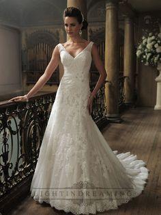Ruched Straps A-line V-neck and V-back Wedding Dresses