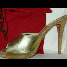 """Gorgeous limited ed Louboutins sabotage in gold! Worn a total of 4 times! There are a couple of scratches but they don't show up much while wearing! As any louboutins user would know the red sole is very thin and it wears off after a just couple of wears! These are the limited edition version! ~4.5"""" heel, 100% AUTHENTIC!! Christian Louboutin Shoes Heels"""