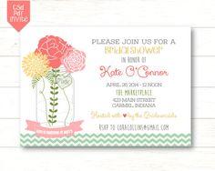Mason Jar Floral Bridal Shower Invite - - 5x7 Printable on Etsy, $13.00