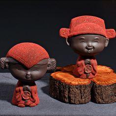 Yixing tea pet boutique character double happiness sand Taoxin Lang bride famous tea play ornaments handmade tea