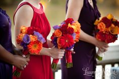 Excellent way of making purple and red coordinate for bridesmaids - looks amazing!  Courtesy: http://boards.weddingbee.com/topic/bouquet-help-do-we-have-to-match/
