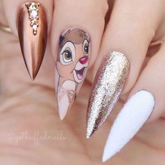 Disney Stiletto Nails S e Stiletto-N gel Stiletto Sargn gel Einfach Stiletto N… - Nageldesign Nail Art Disney, Disney Acrylic Nails, Summer Acrylic Nails, Best Acrylic Nails, Gold Nail Designs, Nails Design, Almond Shape Nails, Stiletto Nail Art, Dream Nails