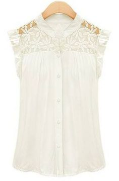 White Contrast Lace Ruffles Blouse pictures