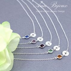 Personalized Hand Stamped Initial with Birthstone Bridesmaid Necklace