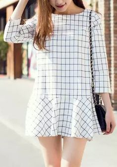 Attractive 3/4 Sleeve Plaid Printed Flounced Mini Dress For Women