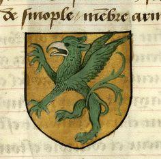 Medieval Manuscript Images, Pierpont Morgan Library, Noms, armes et blasons des chevaliers de la Table Ronde. MS M.16 fol. 69r Armond (or, a griffin vert, beaked and armed argent).