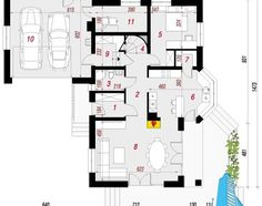 proekt-doma-s-parterom-mansardoj-i-garazhom-dlya-dvux-mashin-parter Floor Plans, Diagram, Case, Design, Floor Plan Drawing, House Floor Plans