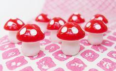 5x Mini Mushrooms 12mm Red and White Polkadot door CuteCornwall