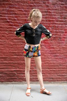 Some crochet shorts NOT from grandma. http://www.manrepeller.com/2015/07/outfit-ideas-for-summer-office-style.html