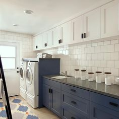 A well dressed interior can make even the most boring of chores loads of fun 🧦 Laundry Room Design, Well Dressed, New Homes, Kitchen Cabinets, Canning, Interior, How To Make, Fun, House