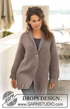 "DROPS 122-11 - DROPS jacket in seed st in ""Eskimo"". Size S to XXXL. - Free pattern by DROPS Design"