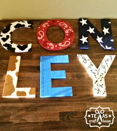 Western themed nursery chipboard letters using silhouette cameo, acrylic paint and sharpies