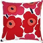 Red throw pillow.