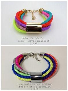 (Hate the colors love the bracelet) inspiration and realisation: DIY Fashion - DIY Home: DIY rope style link bracelet