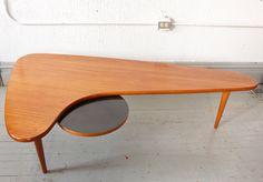 RARE Mid Century Danish Modern Solid Teak Boomerang Table designed by Peter Hvidt. $1,950.00, via Etsy.