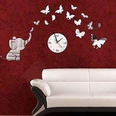 Wall Sticker Home Decoration 2015 DIY Mirror Petals Clock Wall Stickers Home Decoration Removable Vinyl Wall stickers Art Decals