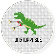 Unstoppable Trex PDF Cross Stitch Pattern Needlecraft - Instant Download - Modern Chart by DailyCrossStitch on Etsy https://www.etsy.com/nz/listing/182414322/unstoppable-trex-pdf-cross-stitch