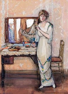 A Moment of Insecurity by Jane Peterson on Curiator, the world's biggest collaborative art collection. American Impressionism, Impressionism Art, Impressionist, Paintings Famous, Beautiful Paintings, Intermediate Colors, Decoupage, Digital Museum, Mirror Art