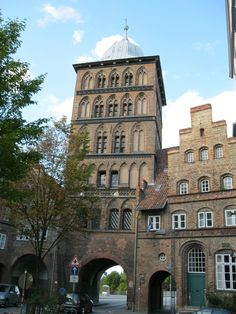 The Burgtor, built 1444 in late Gothic style, was the northern city gate of Hanseatic Lübeck, now in Germany. It is one of two towered gates remaining from the medieval fortifications, the other being the more famous Holstentor. The Baroque helmet-like roof was added in 1685.